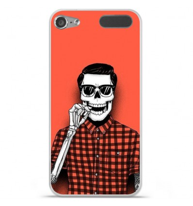 Coque en silicone Apple iPod Touch 5 / 6 - Skull Hipster red shirt