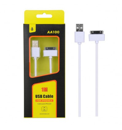 Cable usb Iphone 4 / 4S cable 1M 2A - Blanc