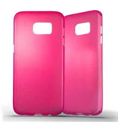 Coque Samsung Galaxy S7 Edge Silicone Gel givré - Rose Translucide