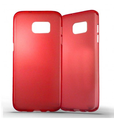 Coque Samsung Galaxy S7 Edge Silicone Gel givré - Rouge Translucide