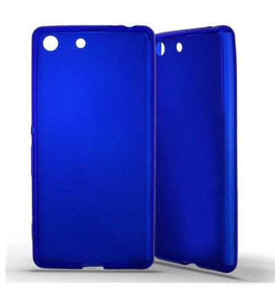Coque Sony Xperia M5 Silicone Gel givré - Bleu Translucide