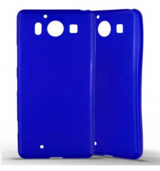 Coque Nokia Lumia 950 Silicone Gel givré - Bleu Translucide