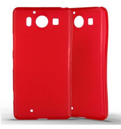 Coque Nokia Lumia 950 Silicone Gel givré - Rouge Translucide