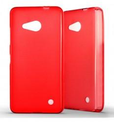 Coque Nokia Lumia 550 Silicone Gel givré - Rouge Translucide