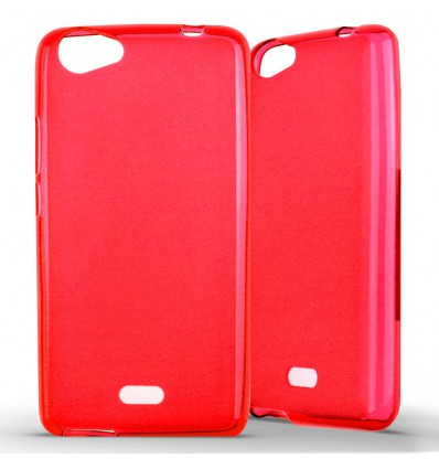 Coque Wiko Rainbow Jam Silicone Gel givré - Rouge Translucide
