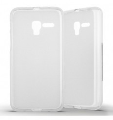 Coque Alcatel One Touch Pop 3 (5) Silicone Gel givré - Blanc Translucide