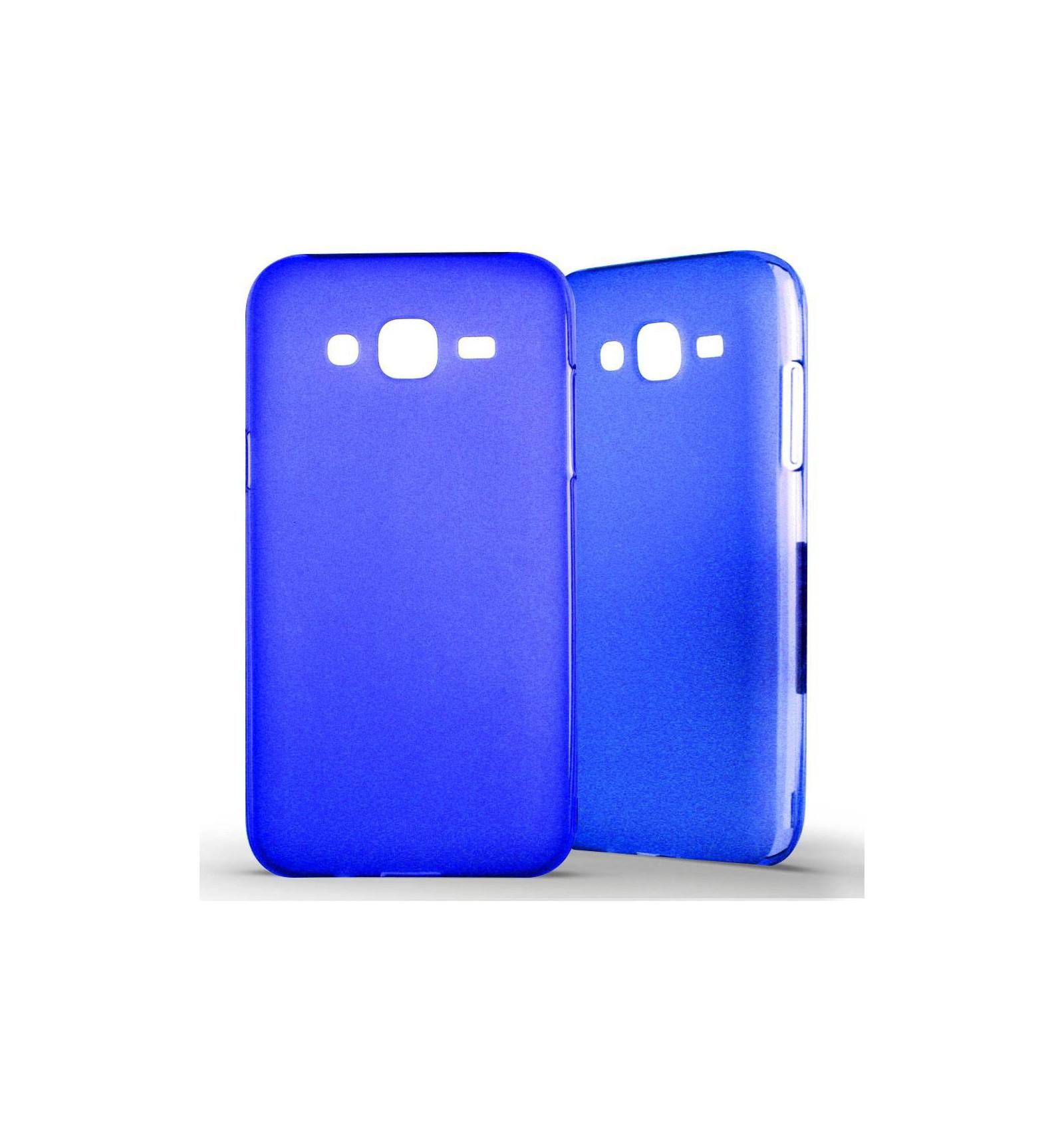 Coque Samsung Galaxy J5 Silicone Gel givré - Bleu Translucide