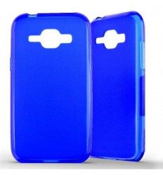 Coque Samsung Galaxy J1 Silicone Gel givré - Bleu Translucide
