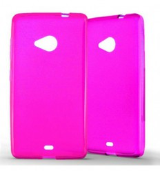 Coque Nokia Lumia 535 Silicone Gel givré - Rose Translucide