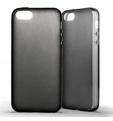 Coque Apple IPhone 5 / 5S Silicone Gel givré - Noir
