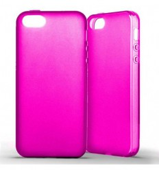 Coque Apple IPhone 5 / 5S Silicone Gel givré - Rose Translucide