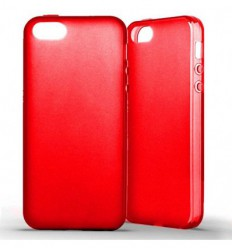 Coque Apple IPhone 5 / 5S Silicone Gel givré - Rouge Translucide