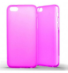 Coque Apple iPhone 5C Silicone Gel givré - Rose Translucide