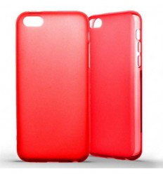 Coque Apple iPhone 5C Silicone Gel givré - Rouge Translucide