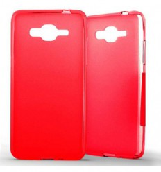 Coque Samsung Galaxy Grand Prime / Grand Prime VE Silicone Gel givré - Rouge Translucide