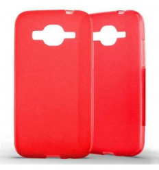 Coque Samsung Galaxy Core Prime / Core Prime VE Silicone Gel givré - Rouge Translucide