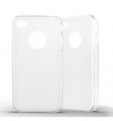 Coque Apple IPhone 4 / 4S Silicone Gel givré - Blanc Translucide