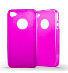 Coque Apple IPhone 4 / 4S Silicone Gel givré - Rose Translucide