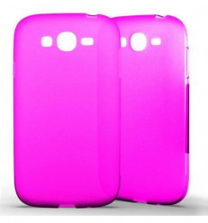 Coque Samsung Galaxy Grand / Grand Plus Silicone Gel givré - Rose Translucide