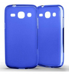 Coque Samsung Galaxy Core Plus Silicone Gel givré - Bleu Translucide