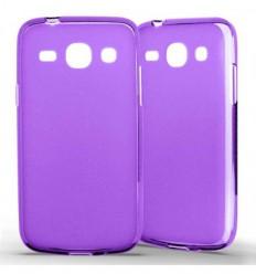 Coque Samsung Galaxy Core Plus Silicone Gel givré - Violet Translucide