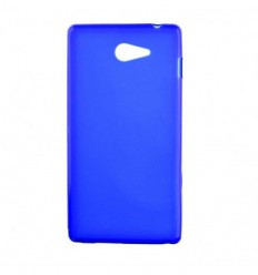 Coque Sony Xperia M2 Silicone Gel givré - Bleu Translucide