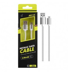 Câble Micro USB nylon AS113 - Silver