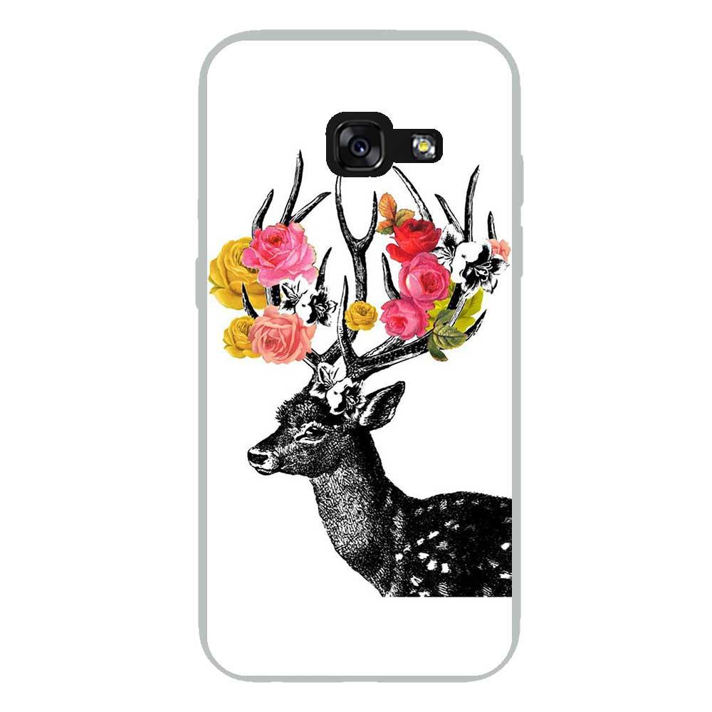 Coque en silicone Samsung Galaxy A3 2017 - Cerf fleurs