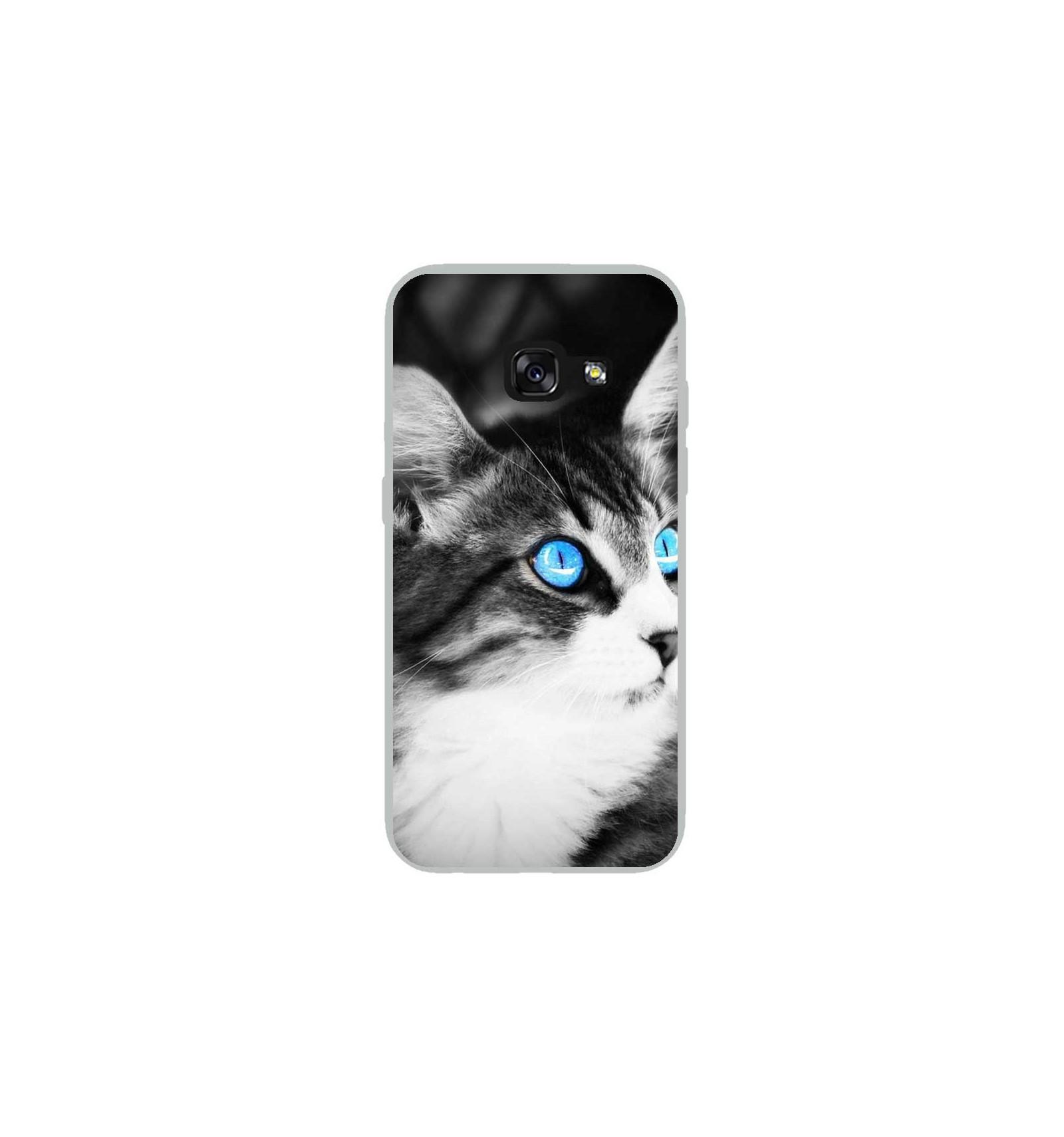 Coque en silicone Samsung Galaxy A5 2017 - Chat yeux bleu