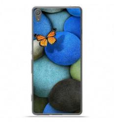 Coque en silicone Sony Xperia XA Ultra - Papillon galet bleu