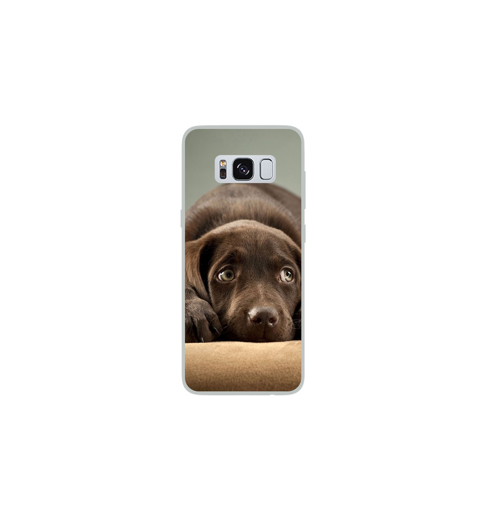 coque en silicone samsung galaxy s8 chiot marron. Black Bedroom Furniture Sets. Home Design Ideas