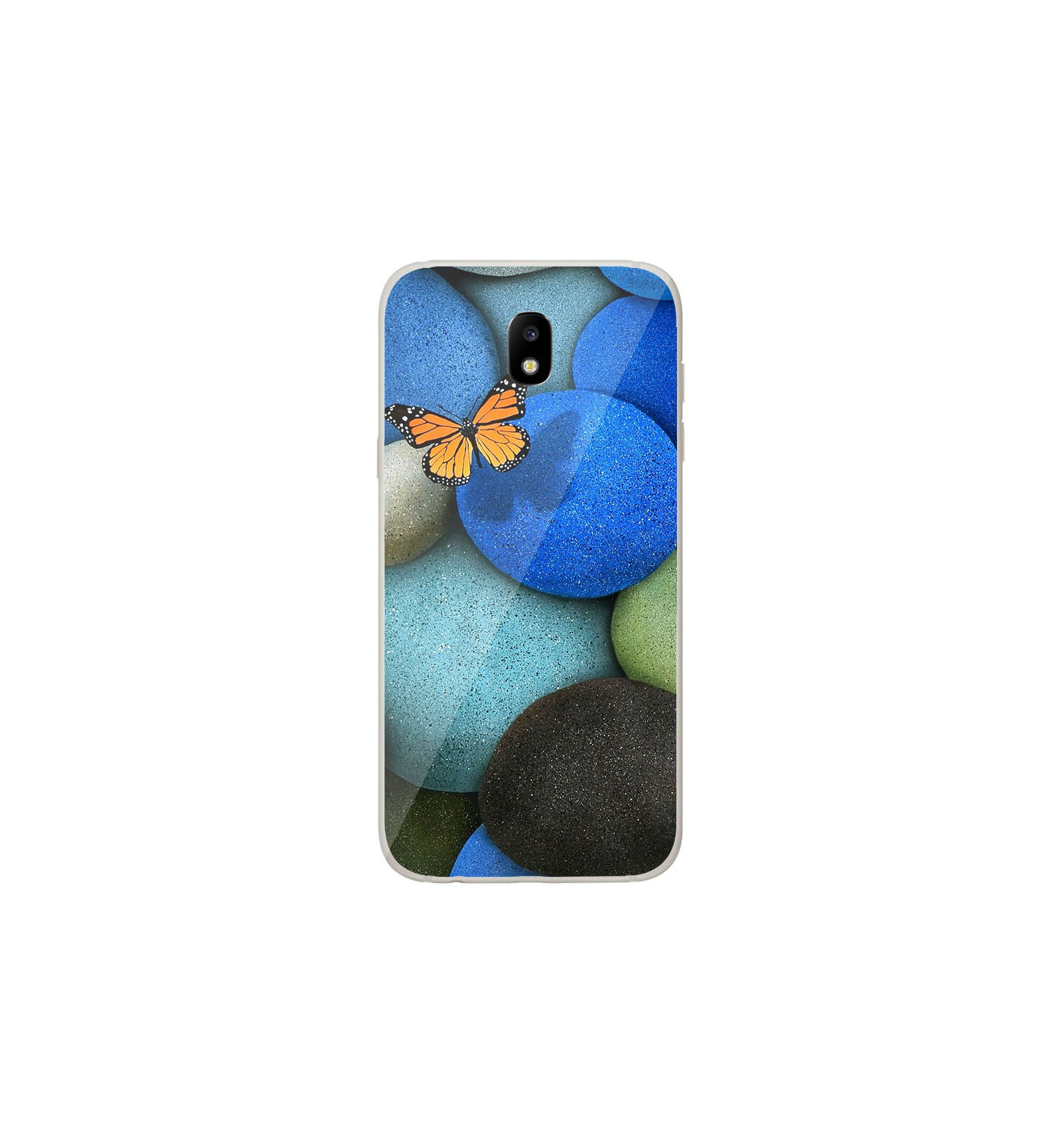 coque en silicone samsung galaxy j3 2017 papillon galet bleu. Black Bedroom Furniture Sets. Home Design Ideas