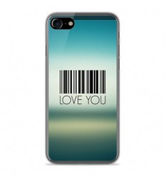 Coque en silicone Apple IPhone 8 - Code barre Love you