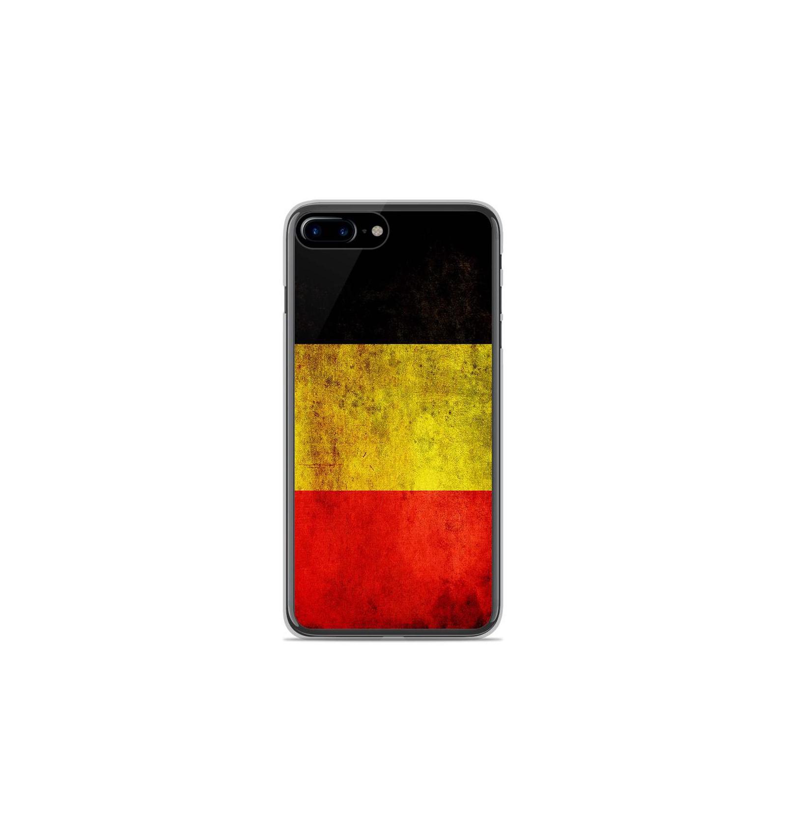 coque en silicone apple iphone 8 plus drapeau belgique