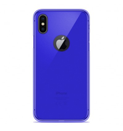 Coque Apple iPhone X / XS Silicone Gel givré - Bleu Translucide