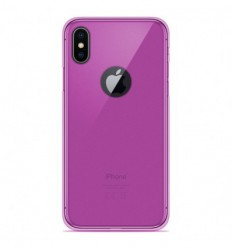 Coque Apple iPhone X / XS Silicone Gel givré - Rose Translucide
