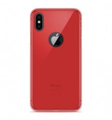 Coque Apple iPhone X / XS Silicone Gel givré - Rouge Translucide